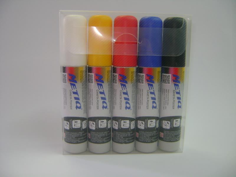 Caneta Poster  Ponteira 10mmx15mm – Cores: Vermelha, Amarela, Azul, Branca E Preta  – Embalagem Com 05 Unidades