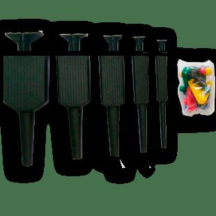 5 Pincéis Sem Ponteira + Batente + Tampas Coloridas