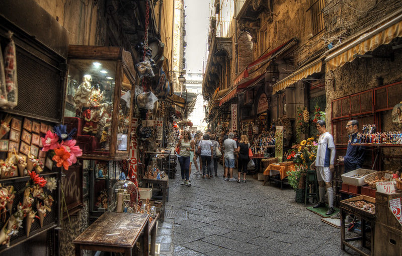 Street in the Old Town of Naples, Italy
