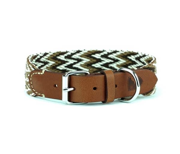 hondenhalsband leer en katoen bruin voor honden front