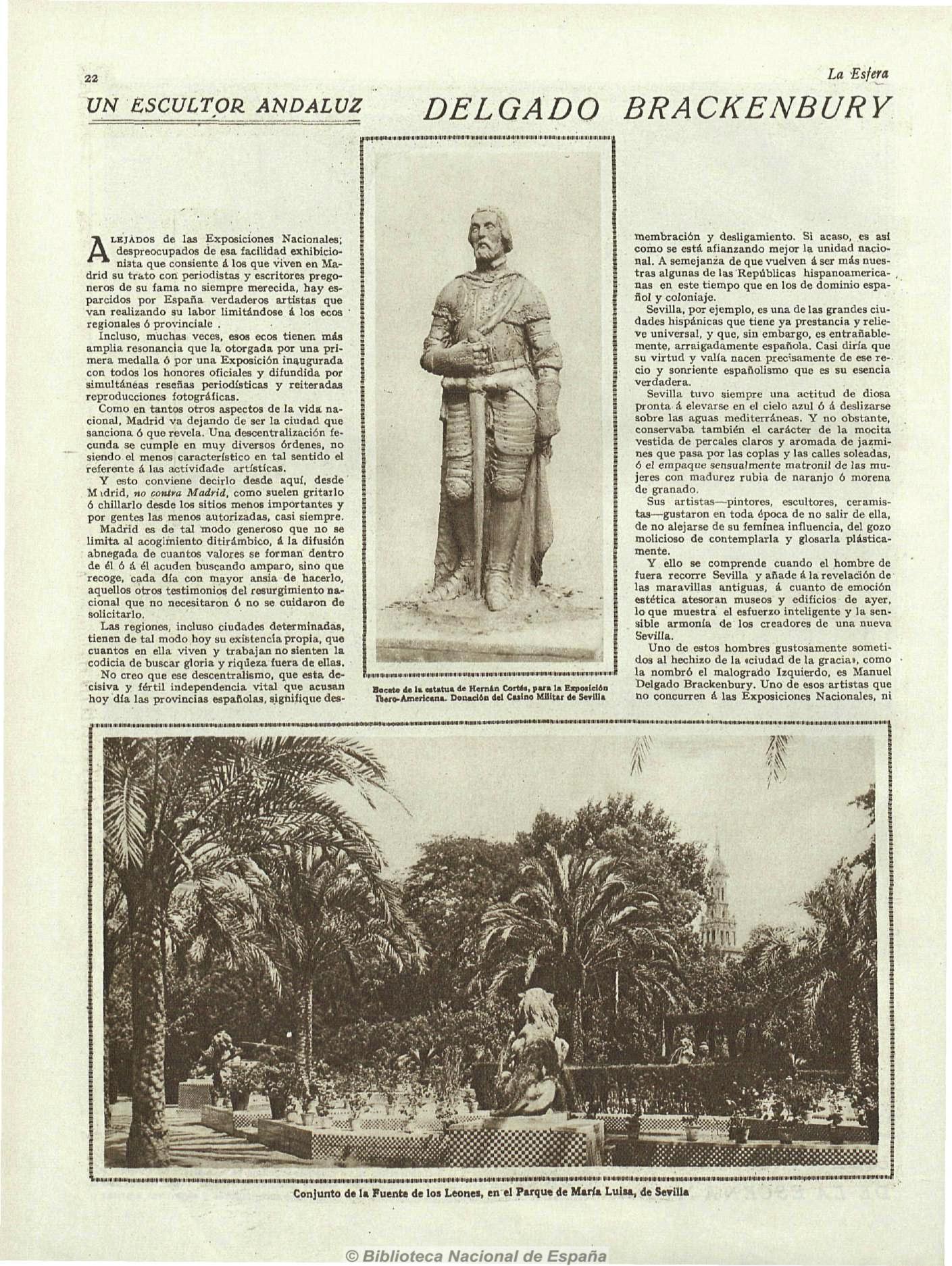 """V. DOCUMENTOS PARA LA HISTORIA DE LA FUENTE DE LAS CUATRO ESTACIONES: """"Un escultor andaluz: Delgado Brackenbury"""". La Esfera."""
