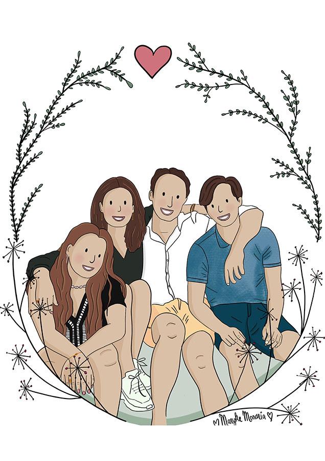 Getekend Familieportret Mondria