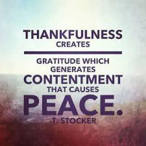 December 2017: Thankfulness and Peacefulness