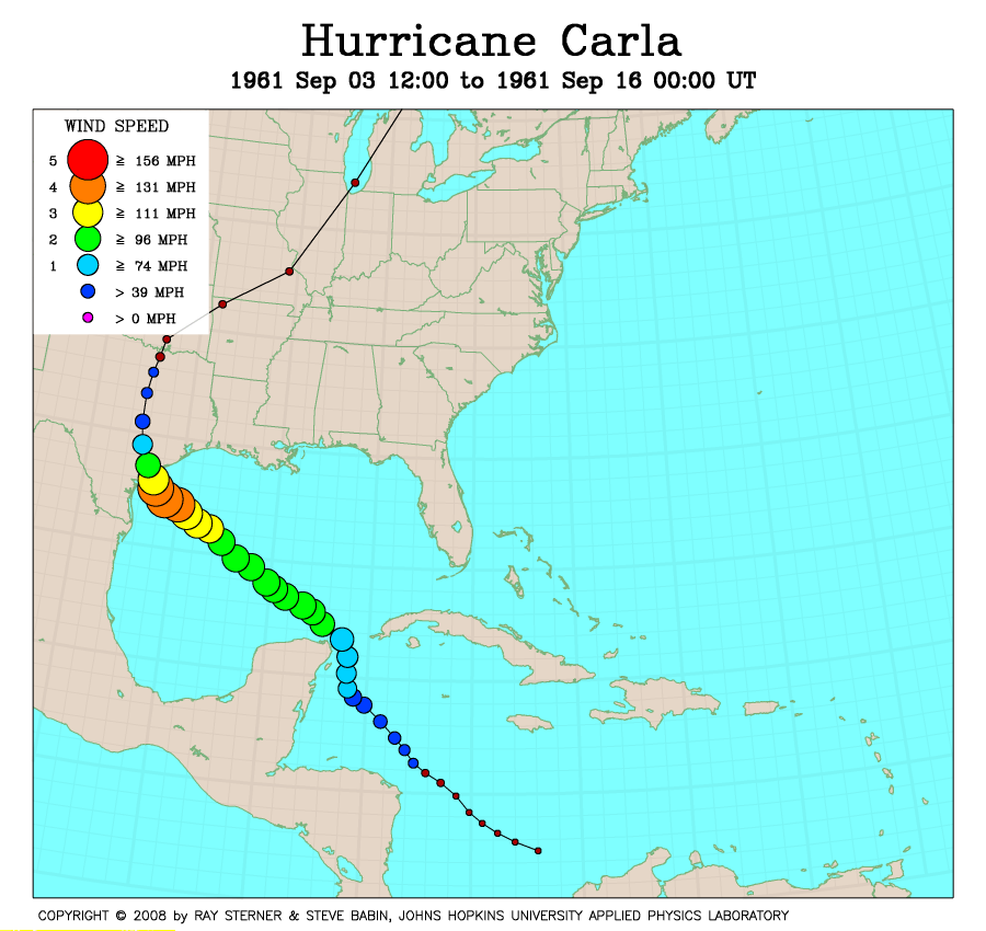 Image result for path of hurricane carla