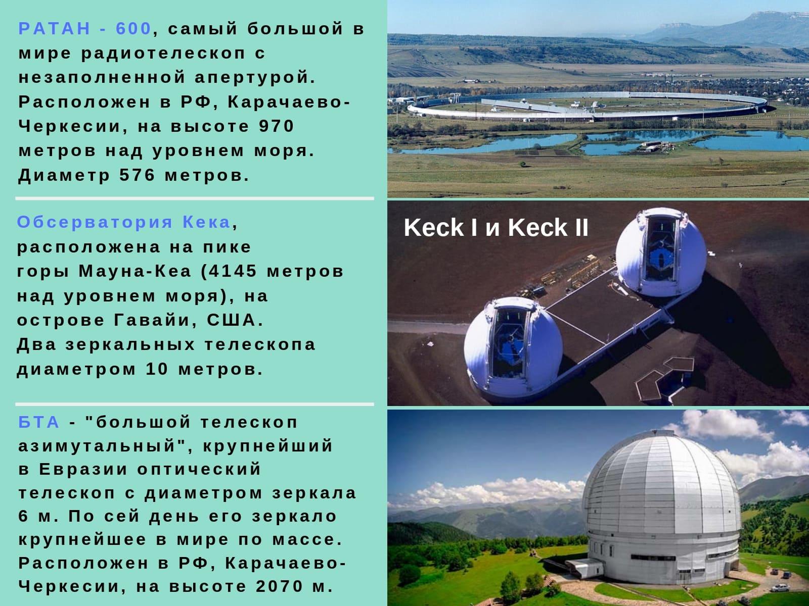 РАТАН - 600 / Обсерватория Кека / БТА
