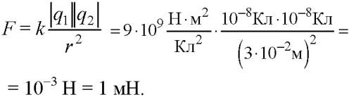 Решение задачи С какой силой взаимодействуют два заряда по 10 нКл каждый , находящиеся на расстоянии 3 см друг от друга? (н- приставка= 10-9)