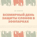 Всемирный день защиты слонов в зоопарках. 20 июня