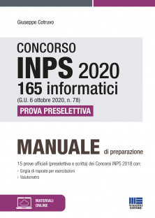 INPS 2020 165 informatici (G.U. 6 ottobre 2020, n. 78) Prova preselettiva