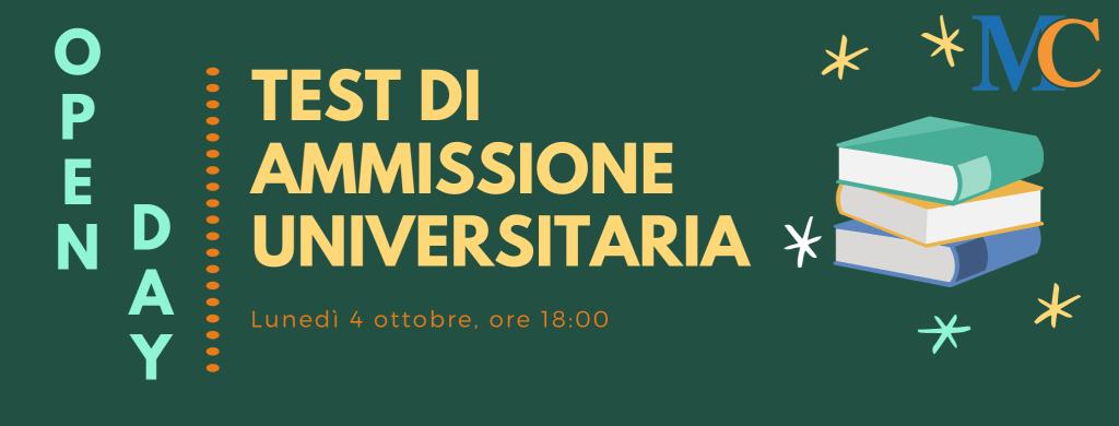 Metodo Cotruvo TEST DI AMMISSIONE UNIVERSIUTARIA OPEN DAY