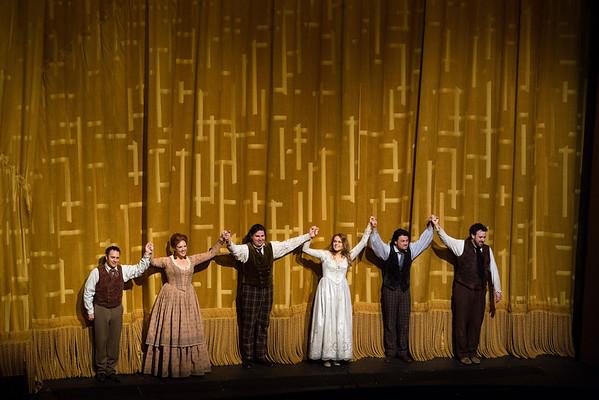 "The final bows of the Puccini's ""La Bohème"" at the Metropolitan Opera on April 5, 2014 (left to right) Patrick Carfizzi as Schaunard, Susanna Phillips as Musetta, Massimo Cavaletti as Marcello, Kristine Opolais as Mimi, Vittorio Grigolo as Rodolfo, and Oren Gradus as Colline. Photo: Marty Sohl/Metropolitan Opera"