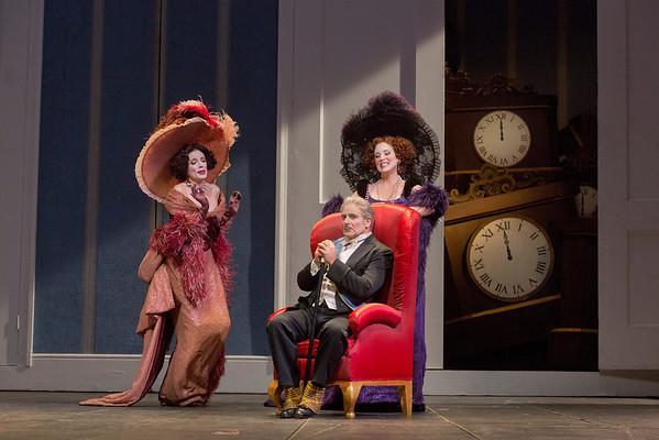 "Rachelle Durkin as Clorinda, Pietro Spagnoli as Dandini, and Patricia Risley as Tisbe  in Rossini's ""La Cenerentola.""   Photo: Ken Howard/Metropolitan Opera"