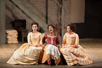 "Isabel Leonard as Dorabella, Danielle de Niese as Despina, and Susanna Phillips as Fiordiligi in Mozart's ""Così fan tutte.""  Photo: Marty Sohl/Metropolitan Opera  Taken on September 11, 2013 at the Metropolitan Opera in New York City."