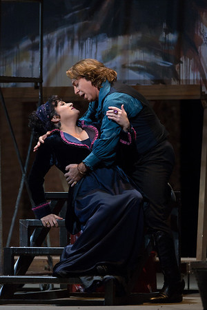 "Patricia Racette as the title character and Roberto Alagna as Cavaradossi in a scene from Act I of Puccini's ""Tosca.""  Photo: Marty Sohl/Metropolitan Opera"