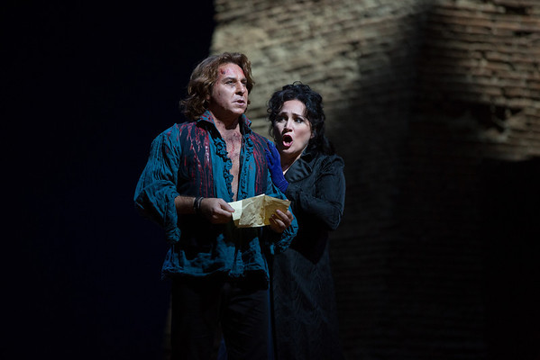 "Roberto Alagna as Cavaradossi and Patricia Racette as the title character in a scene from Act III of Puccini's ""Tosca.""  Photo: Marty Sohl/Metropolitan Opera"