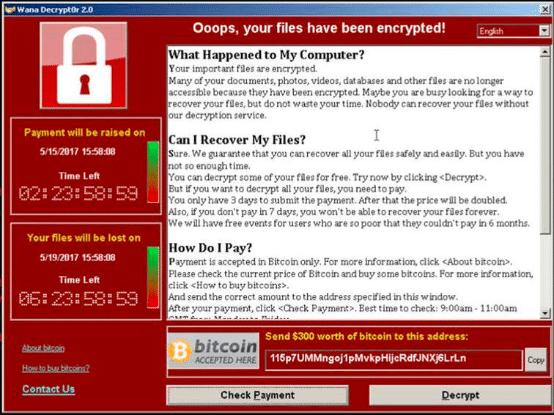 """النافذة التي ظهرت على الأجهزة المصابة في هجوم """"وانا كراي""""، ويظهر فيها طلب دفع فدية 300$ بالـ""""بيتكوين"""" ترسل على عنوان حافظة إلكترونية مقابل رفع التشفير عن الجهاز."""