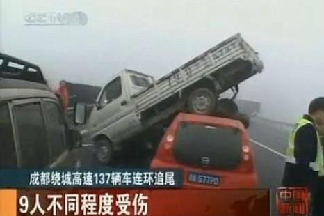 Fog has been blamed for the 137 car pile-up in south-west China