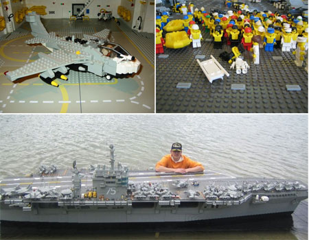 Hello sailors: (Clockwise from top left) A lego warplane, some of the 5,000 lego crew and Malle Hawking proudly showing off his creation