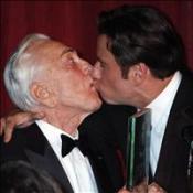 A kiss for Kirk from award-winner Travolta