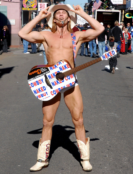 The Naked Cowboy: you're not naked if you're wearing pants, you numpty