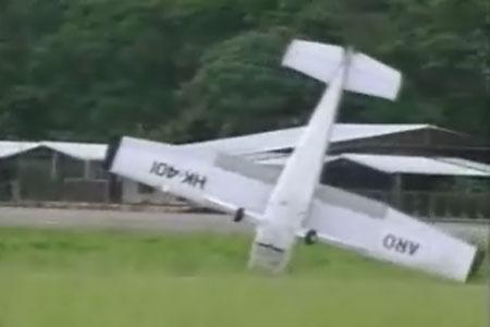 Plane flips over after crash landing
