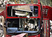 A bus destroyed in the 7/7 London bombings