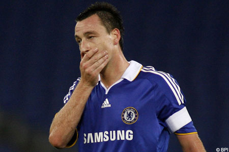 Chelsea captain John Terry misses a penalty in the Champions League final