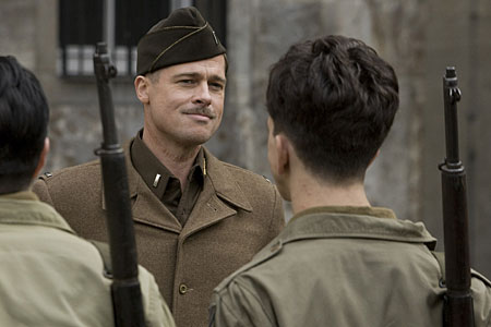 Brad Pitt plays a Lieutenant on the hunt for Nazi scalps in Inglourious Basterds