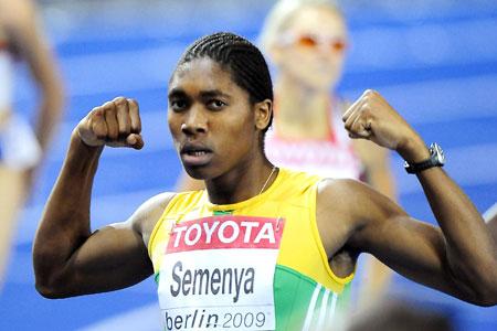 Caster Semenya celebrates her world championship victory