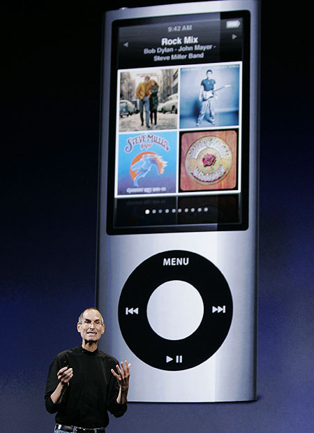 Steve Jobs, unveiling the new iPod Nano, complete with video camera