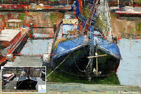 Easel as 1, 2, 3: A painting of an Amsterdam canal boat by artist Bill Guffey and the real thing as captured on Google's Street View tool, inset