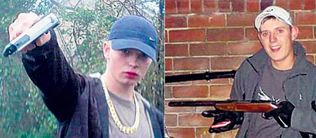 Joe Brent-Mitchell, left, and Lewis Barker in the photos they posted online