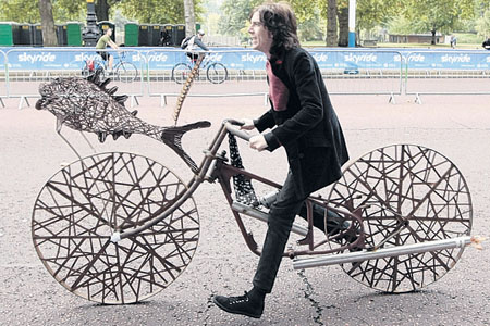 Wheels of steel: No chance of a puncture as this contraption took to the streets