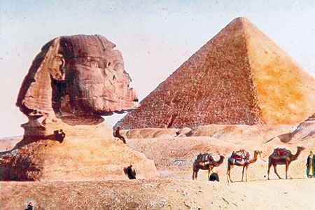 Detailed: Harrison's image of the Sphinx and one of the Pyramids