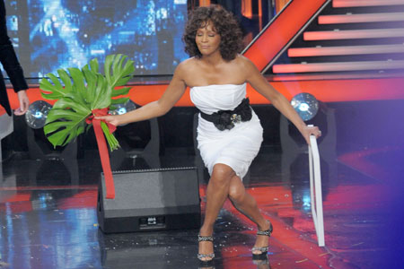Whitney Houston kept her dress on during an appearance on Italian X Factor