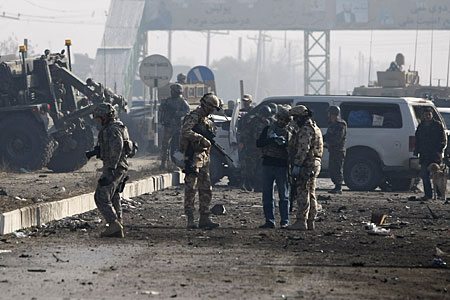 Six people were injured in the blast, including three foreign soldiers.