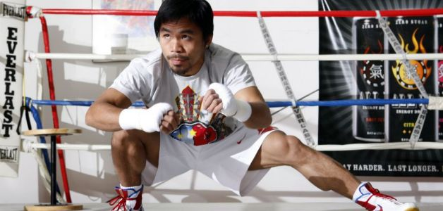 Manny Pacquiao of the Philippines stretches before a workout in Las Vegas