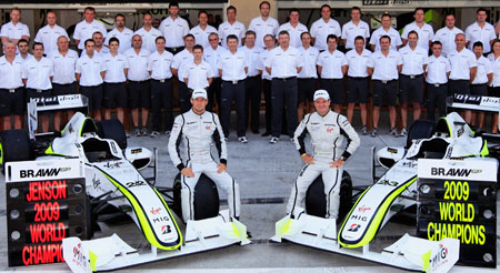 The Brawn team, with drivers Button and Barrichello