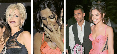Party time: Sarah Harding, Cheryl Cole and hubby Ashley (right)