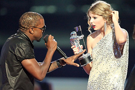 Kanye interrupts Taylor as she accepts her MTV award in September of this year