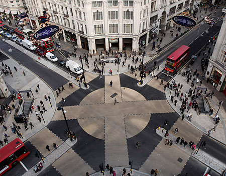 Walk this way: shoppers and commuters trying revamped Oxford Circus today