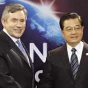 Gordon Brown greets China's President Hu Jintao at the G20 summit