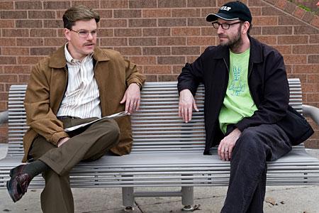 Matt Damon and Steven Soderbergh on the set of The Informant!
