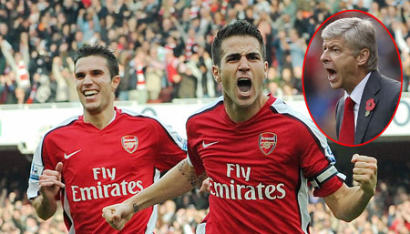 Arsenal boss Wenger, inset, and  Fabregas hope to end the club's trophy drought