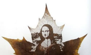Amazing artists engrave pictures on to leaves