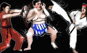 Gordon Brown, Nick Clegg and David Cameron are sumo Street fighters