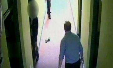 CCTV shows teacher Peter Harvey's dumbbell attack