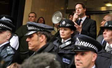 Nick Clegg speaks to electoral reform demonstrators