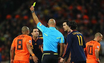 Howard Webb issues 14 yellow cards and a red in World Cup final