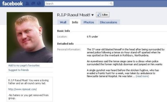 Facebook support page for Raoul Moat under fire from David