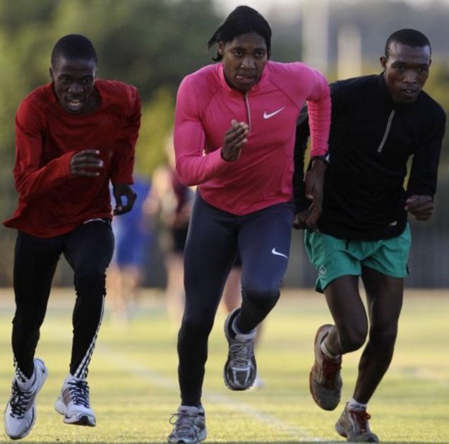 Caster Semenya leads the way in training in Pretoria, South Africa, earlier this month